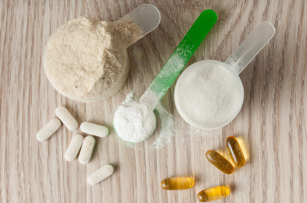 kreatin og proteinpulver
